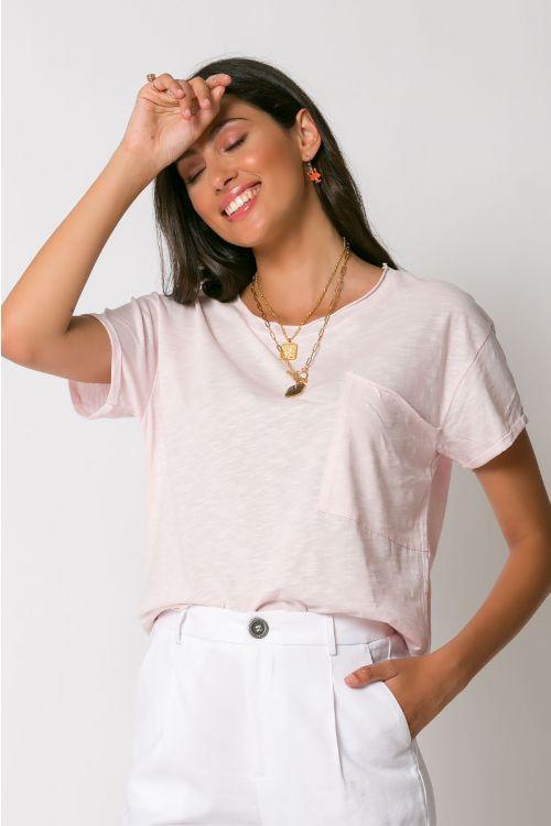 T-shirt με τσεπάκι αριστερά-ΡΟΖ ΑΝΟΙΧΤΟ