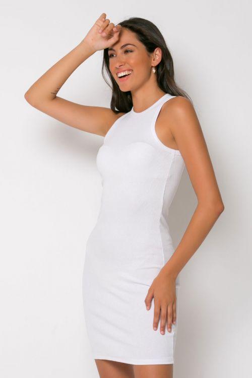 Φόρεμα ριπ μίνι messina-ΛΕΥΚΟ