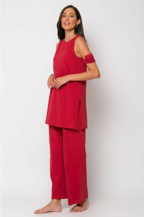 Σετ ζιπ κιλότ με μπλούζα και κορδέλα rome-CHERRY