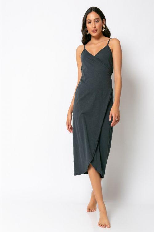 Φόρεμα κρουαζέ milan-ΑΝΘΡΑΚΙ