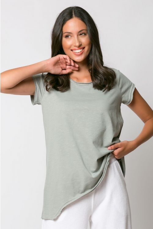 Ασύμμετρο basic t-shirt rome-ΓΚΡΙ ΤΟΥ ΠΑΓΟΥ