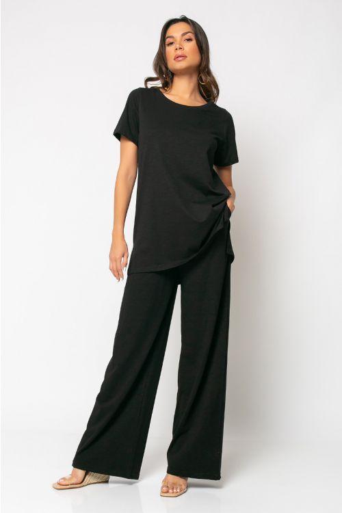 Σετ παντελόνι με t-shirt palermo-ΜΑΥΡΟ