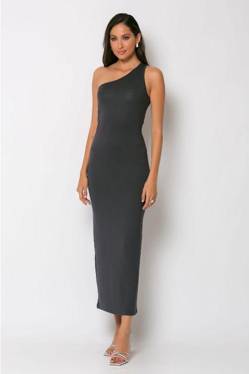 Φόρεμα με ένα ώμο parma-ΑΝΘΡΑΚΙ