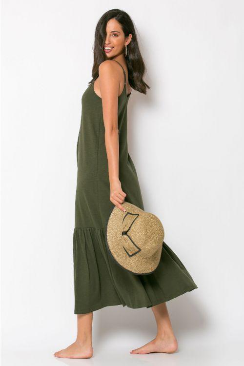 Μίντι φόρεμα με βολάν genoa-ΧΑΚΙ