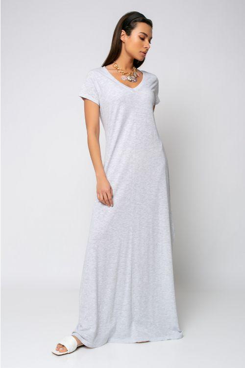 Μάξι φόρεμα με V λαιμόκοψη-ΓΚΡΙ ΑΝΟΙΧΤΟ