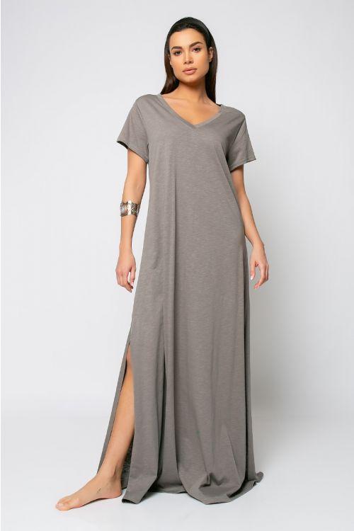Μάξι φόρεμα με V λαιμόκοψη-ΧΑΚΙ LIGHT