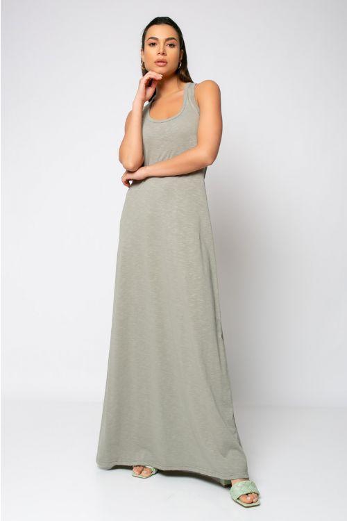 Αμάνικο μάξι φόρεμα με παρτούς ώμους-ΓΚΡΙ ΤΟΥ ΠΑΓΟΥ