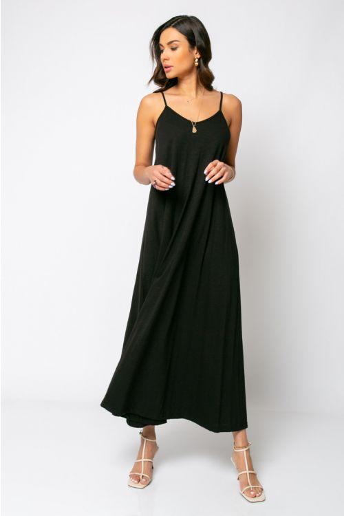 Μίντι φόρεμα ραντάκι rome-ΜΑΥΡΟ
