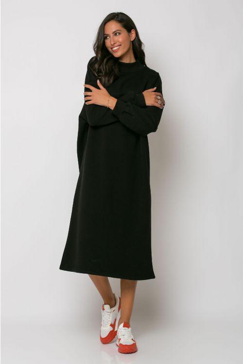 Φούτερ φόρεμα ζιβάγκο reggio-ΜΑΥΡΟ