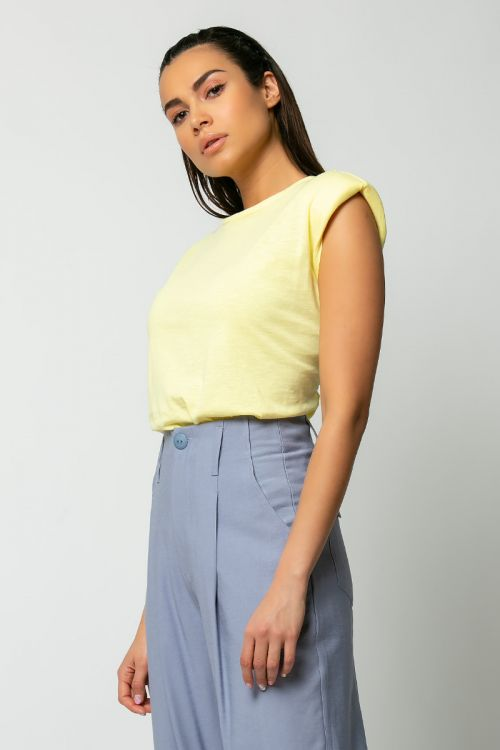 T-shirt με βάτες-ΚΙΤΡΙΝΟ