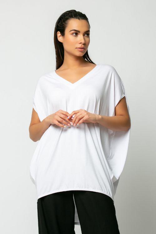 Μπλούζα με V oversized-ΛΕΥΚΟ