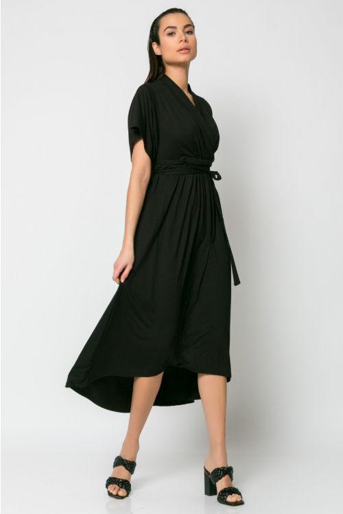 Φόρεμα midi κρουαζέ με σούρα στο στήθος-ΜΑΥΡΟ