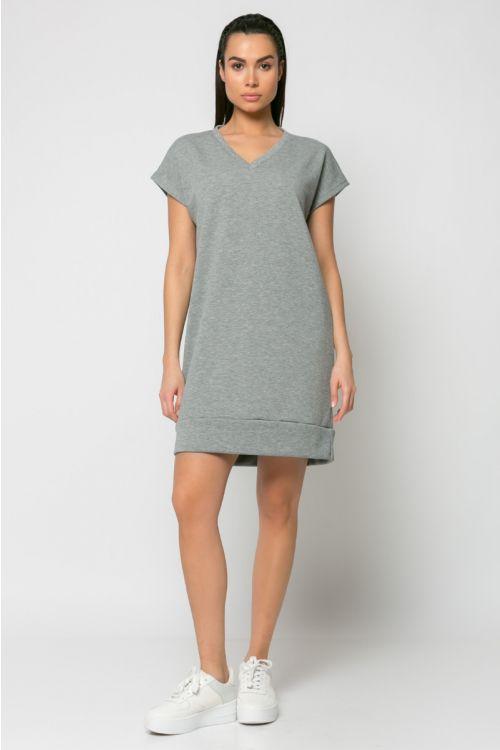 Φόρεμα φούτερ με V λαιμόκοψη-ΓΚΡΙ