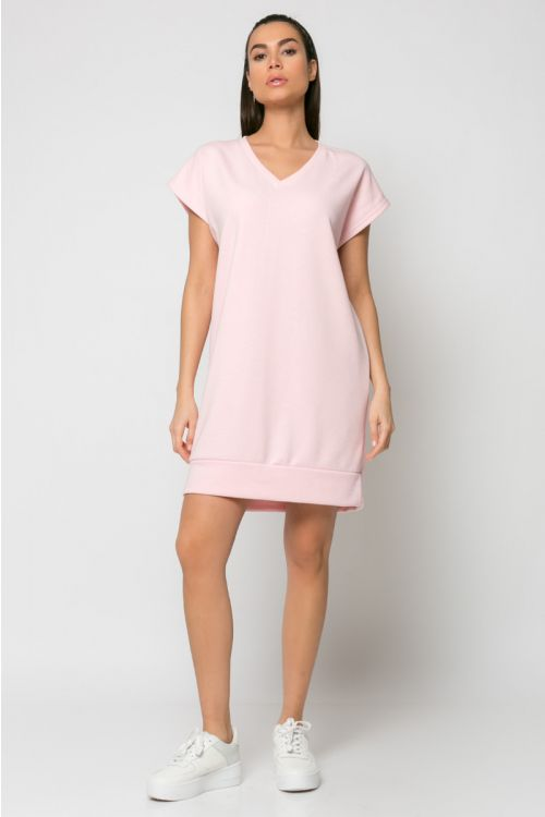 Φόρεμα φούτερ με V λαιμόκοψη-ΡΟΖ