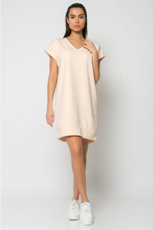 Φόρεμα φούτερ με V λαιμόκοψη-ΣΟΜΟΝ