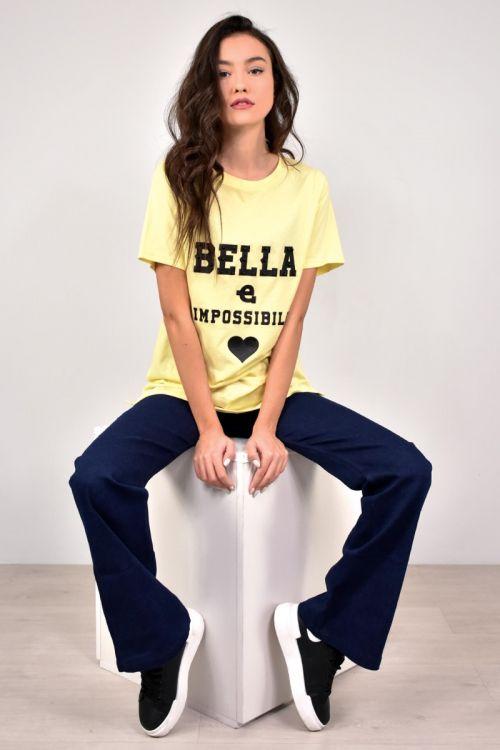 T-shirt με πέρλες bella-ΚΙΤΡΙΝΟ