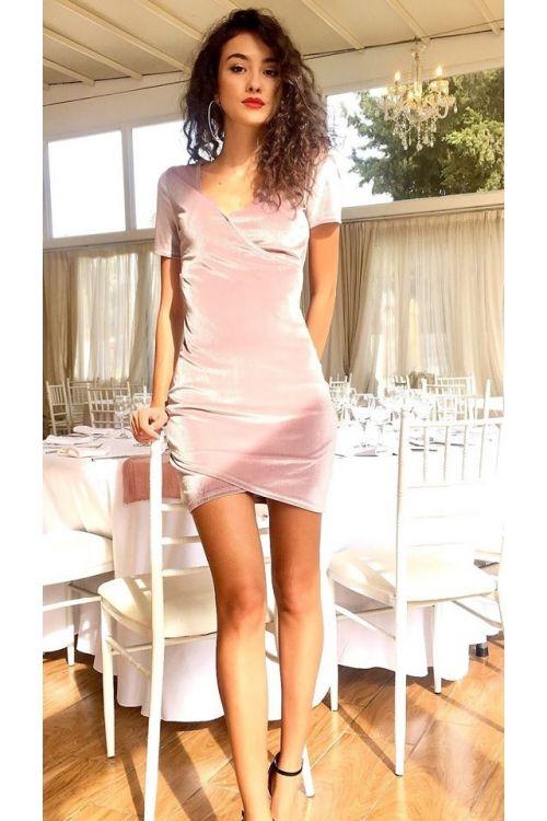 Μίντι κρουαζέ φόρεμα βελουτέ-ΣΟΜΟΝ