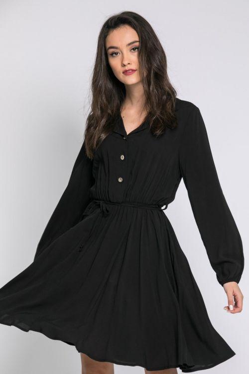 Μαύρο μίντι φόρεμα με κουμπάκια-ΜΑΥΡΟ