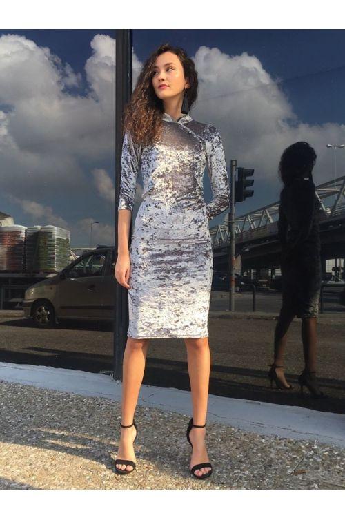 Μάξι βελουτέ φόρεμα-ΓΚΡΙ