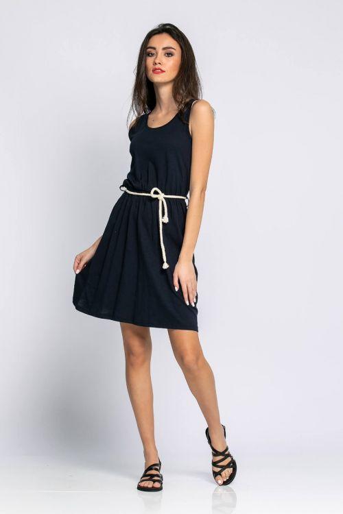 Αμάνικο Φόρεμα με ζωνάκι-ΜΠΛΕ NAVY