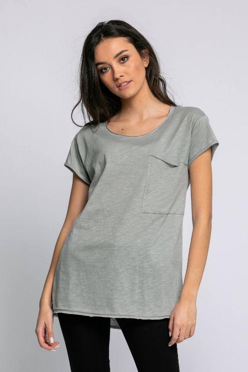 T-shirt με τσεπάκι αριστερά-ΓΚΡΙ ΤΟΥ ΠΑΓΟΥ