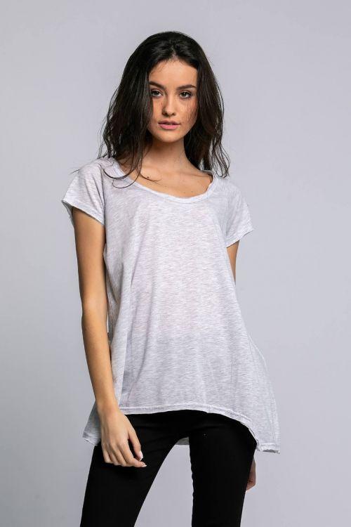 Ασύμμετρο Βασικό T-shirt-ΓΚΡΙ