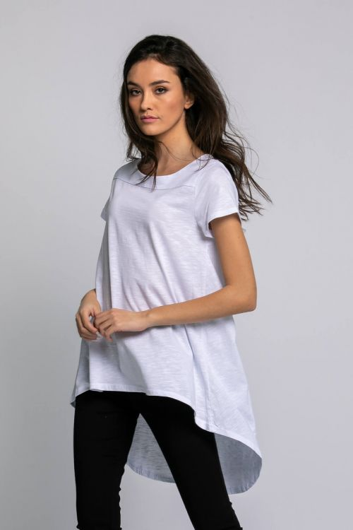 Ασύμμετρο t-shirt-ΛΕΥΚΟ
