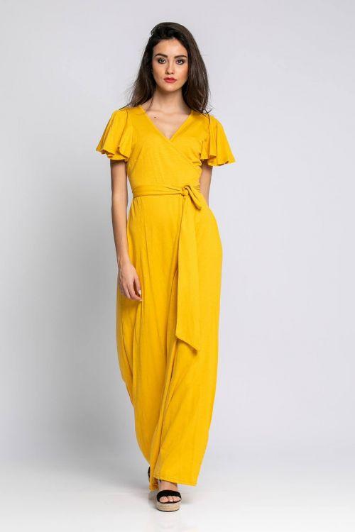 Μάξι φόρεμα με σχέδιο στα μανίκια-ΚΙΤΡΙΝΟ