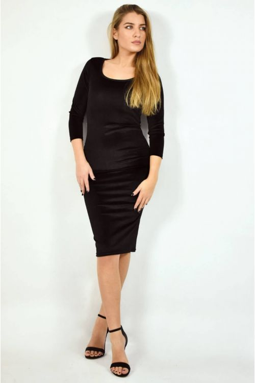 Βελουτέ φόρεμα με λαιμόκοψη χαμόγελο-ΜΑΥΡΟ