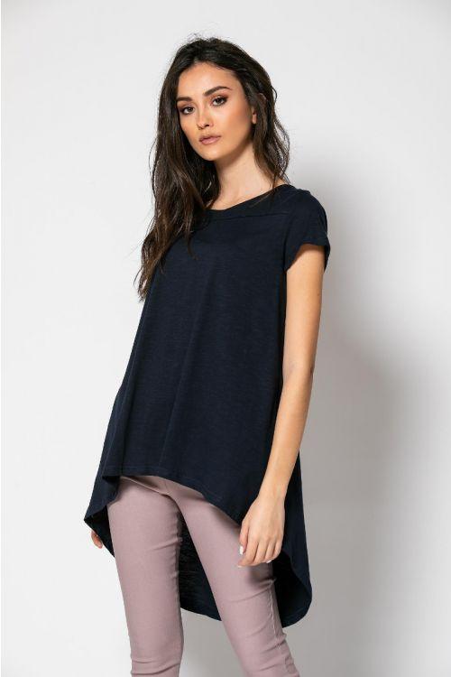 Ασύμμετρο t-shirt-ΜΠΛΕ NAVY