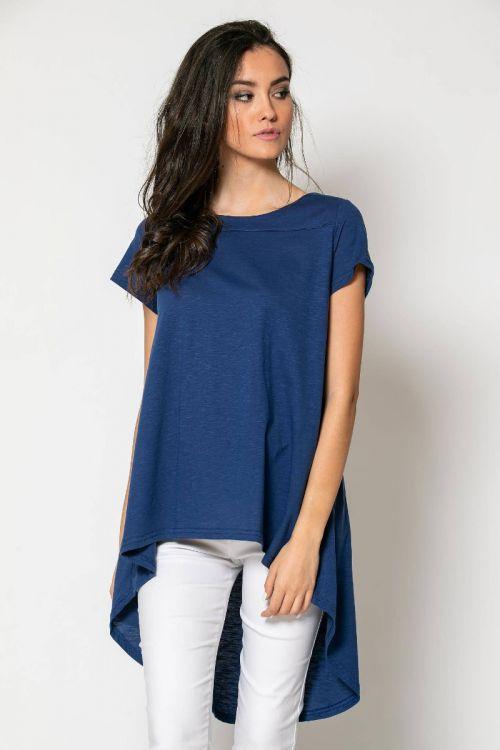 Ασύμμετρο t-shirt-ΜΠΛΕ DENIM