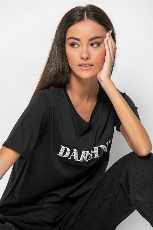 T-shirt with strass darlin-ΜΑΥΡΟ
