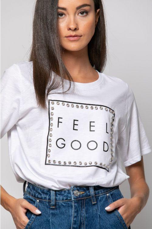 T-shirt με στρας feel-ΛΕΥΚΟ