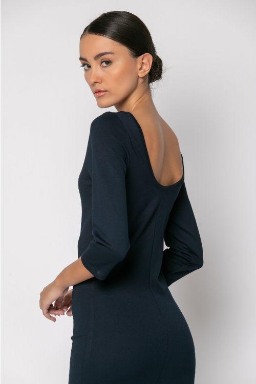Φόρεμα με χαμηλή πλάτη-ΜΠΛΕ NAVY