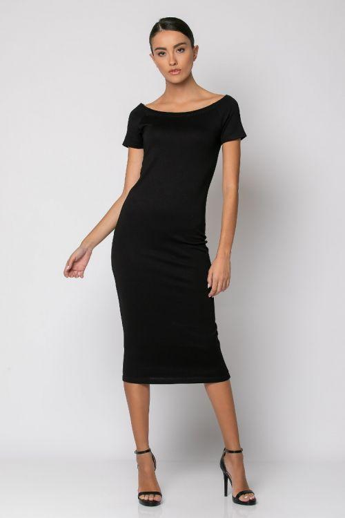 Φόρεμα μίντι κοντομάνικο-ΜΑΥΡΟ