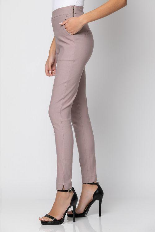Ψηλόμεσο ελαστικό παντελόνι με φερμουάρ στο πλάι-DIRTY PINK