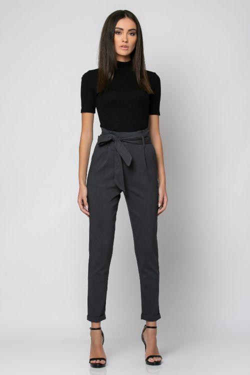 Παντελόνι με ζώνη στη μέση-ΑΝΘΡΑΚΙ