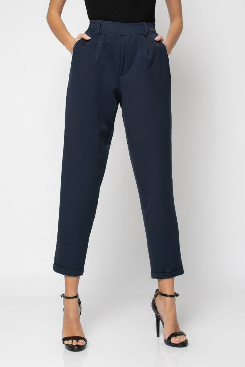 Παντελόνι με λάστιχο στη μέση και ρεβέρ-ΜΠΛΕ NAVY