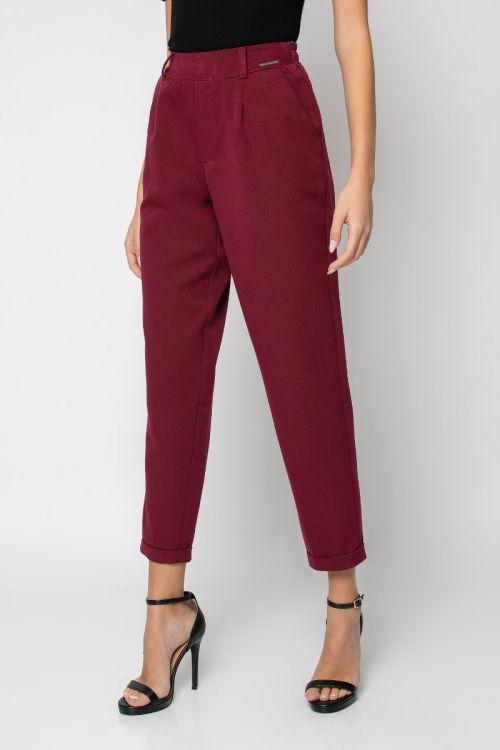 Παντελόνι με λάστιχο στη μέση και ρεβέρ-ΜΠΟΡΝΤΟ