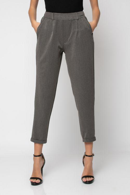 Παντελόνι με λάστιχο στη μέση και ρεβέρ-ΑΝΘΡΑΚΙ