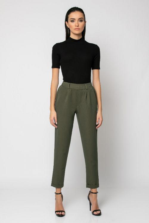 Παντελόνι με λάστιχο στη μέση και ρεβέρ-ΧΑΚΙ
