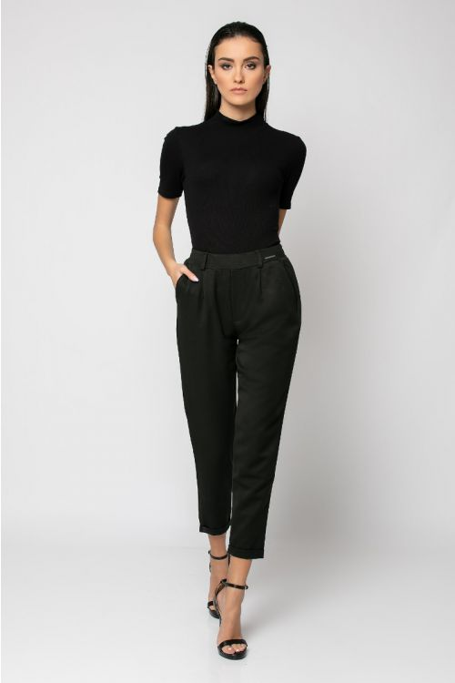 Παντελόνι με λάστιχο στη μέση και ρεβέρ-ΜΑΥΡΟ