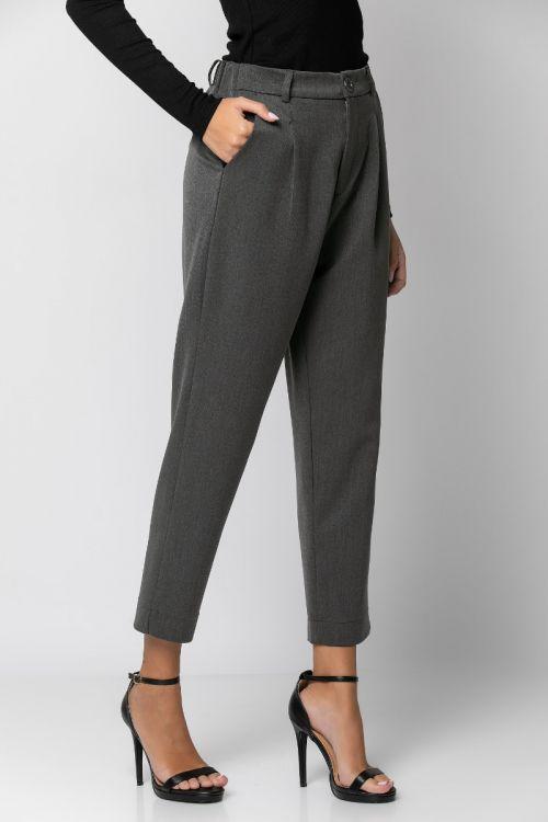 Παντελόνι υφασμάτινο με λάστιχο στη μέση-ΑΝΘΡΑΚΙ