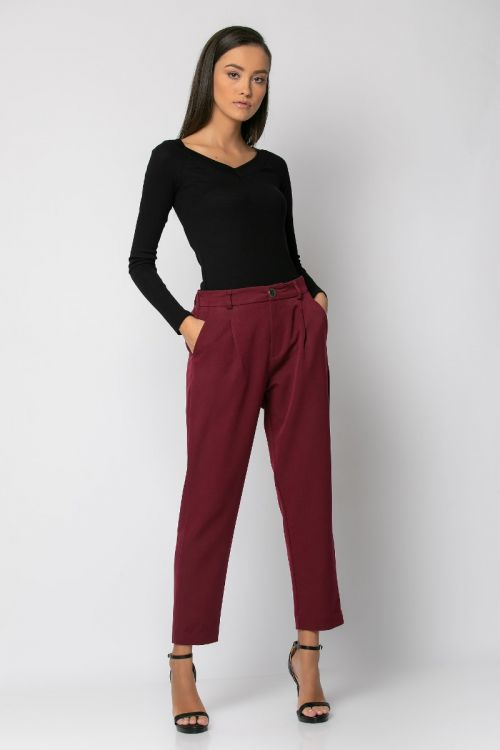 Παντελόνι υφασμάτινο με λάστιχο στη μέση-ΜΠΟΡΝΤΟ