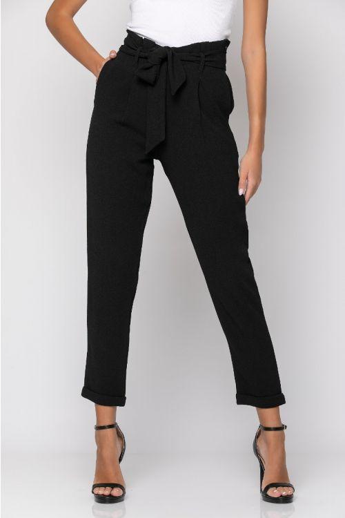 Ψηλόμεσο παντελόνι με πιέτες-ΜΑΥΡΟ