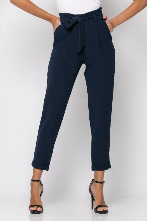 Ψηλόμεσο παντελόνι με πιέτες-ΜΠΛΕ NAVY