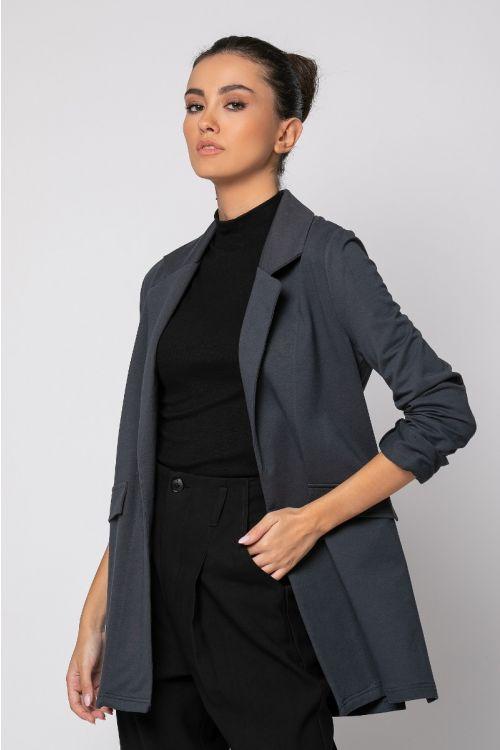 Σακάκι φούτερ με άνοιγμα στο πλάι-ΑΝΘΡΑΚΙ