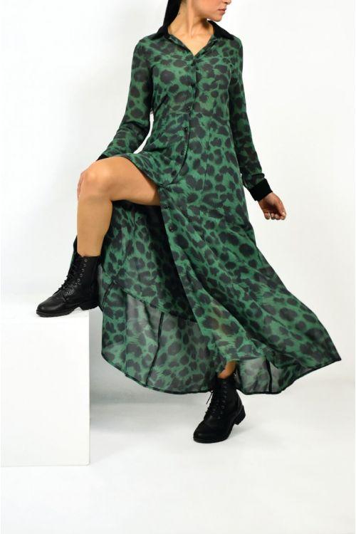 Μάξι φόρεμα με animal print-ΠΡΑΣΙΝΟ