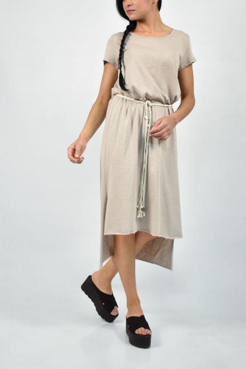 Ασύμμετρο φόρεμα με σκοινί στη μέση-ΜΠΕΖ