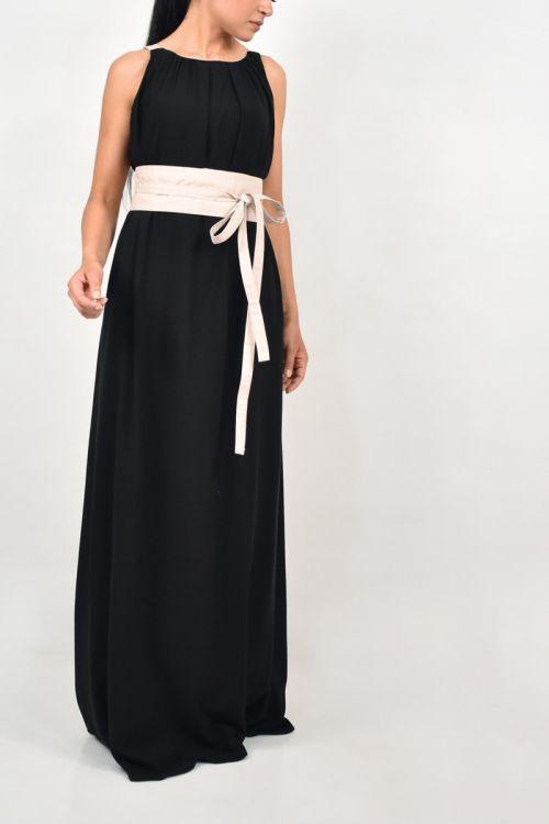 Μάξι φόρεμα με ζώνη-ΜΑΥΡΟ/ΜΠΕΖ ΖΩΝΗ